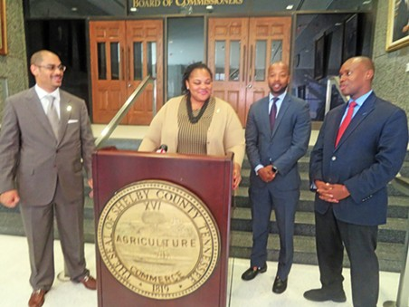 Announcing joint Commission-Council initiative on police shootings were, l to r: Commissioner/Councilman Edmund Ford Jr., and Commissioners Tami Sawyer, Mickell Lowery, and Van Turner (Commission chair). - JB