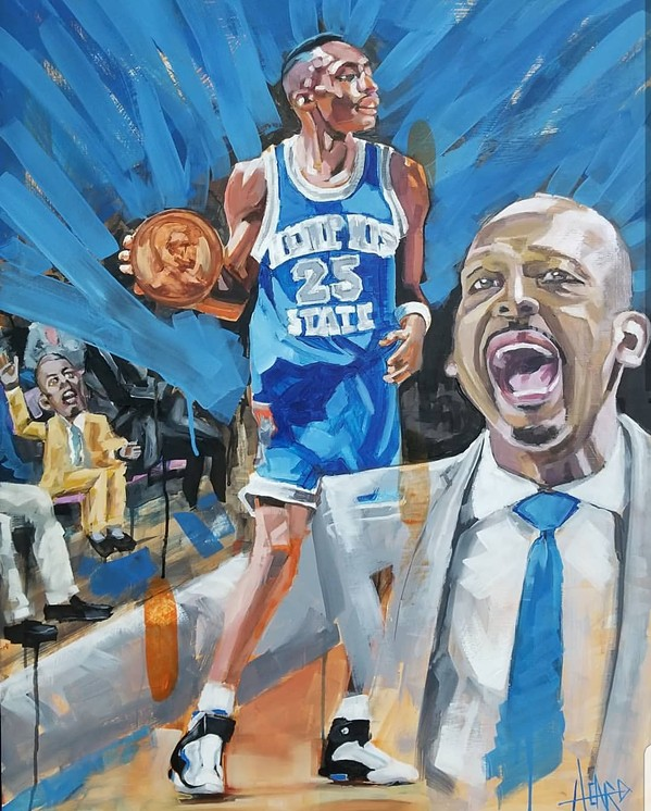 Penny Hardaway painting by Steven Heard at Kappa Sigma art show. - MICHAEL DONAHUE
