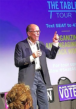 DNC chair Tom Perez at the National Civil Rights Museum on Saturday.