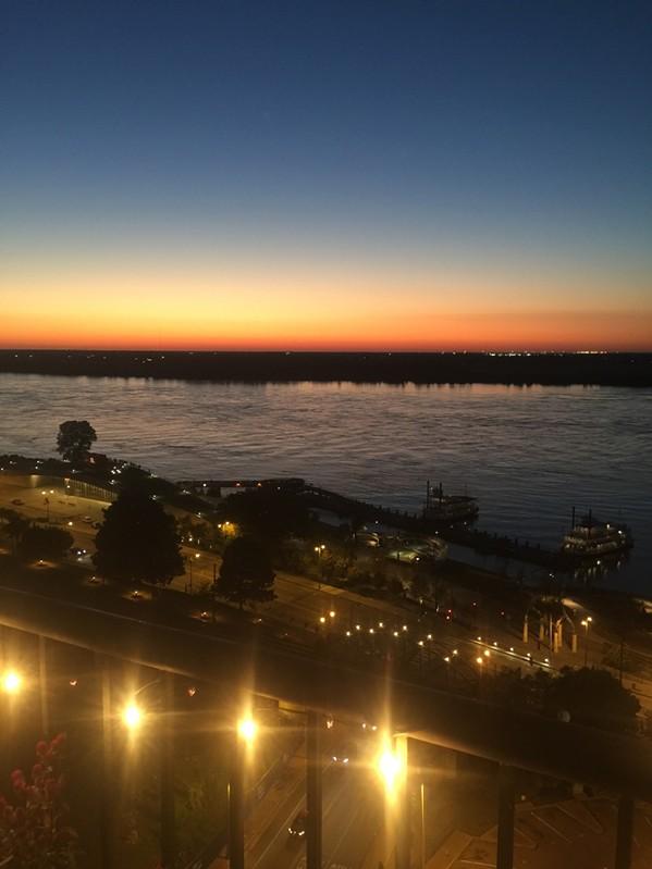 "A colorful sunset preceded the colorful Hernando de Soto bridge ""unveiling."" - MICHAEL DONAHUE"