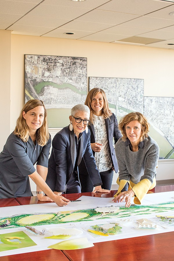 Kate Orff (SCAPE), Carol Coletta (Memphis River Parks Partnership), Gia Biagi - (Studio Gang), and Jeanne Gang (Studio Gang), [from left to right], usher in an ambitious new look for the Memphis riverfront. - PHOTOGRAPHS BY JUSTIN FOX BURKS