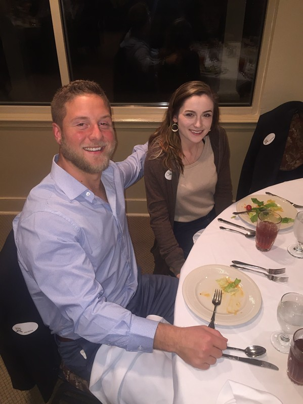 Memphis Blues rugby team captain John Elmore attended the Memphis Rugby Hall of Fame dinner with Chloe Johnson. - MICHAEL DONAHUE