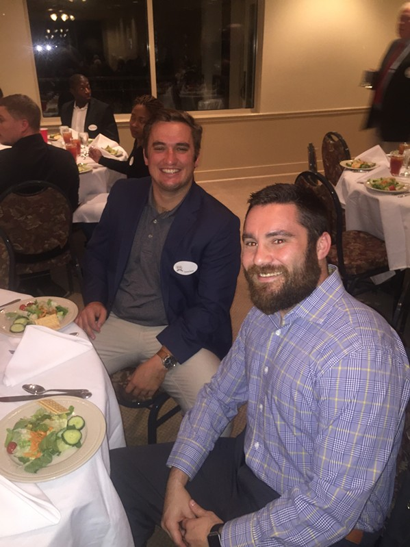 Memphis Blues players Daniel Hyatt and Rob Reetz were at the Memphis Rugby Hall of Fame dinner. - MICHAEL DONAHUE