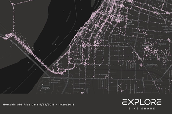South end of Downtown and Big River Crossing - EXPLORE BIKE SHARE