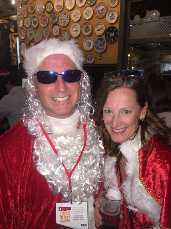 Bob Wilhelm and Carolyn Rock at Stumbling Santa - MICHAEL DONAHUE