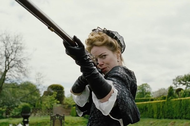 Emma Stone takes aim in The Favourite.