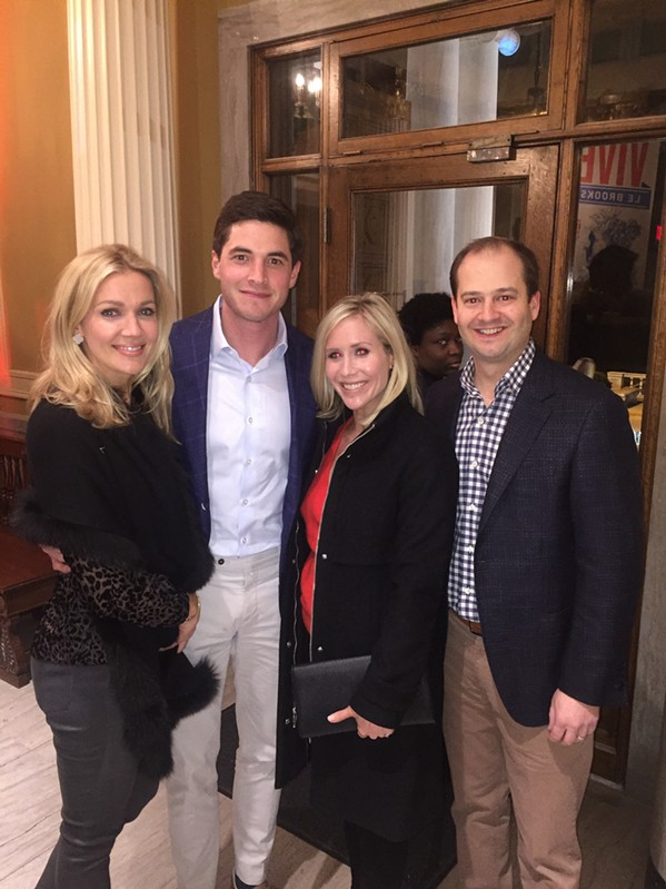 Sara and David Thompson and Krystal and Lynn Shaw were at the Vive le Brooks! launch party. - MICHAEL DONAHUE