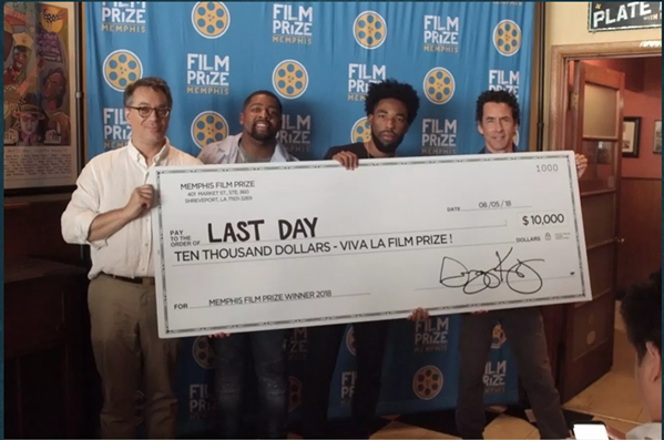 "Kevin Brooks (center right) won the 2018 Memphis Film Prize with his short film ""Last Day""."
