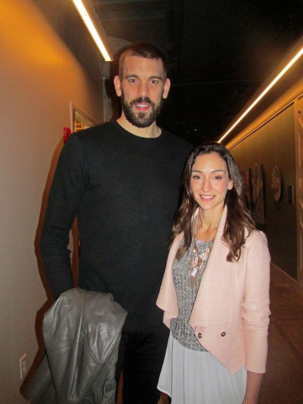 Marc Gasol and his wife, Cristina Blesa, at the opening of The Gray Canary restaurant February 20th, 2018. - MICHAEL DONAHUE