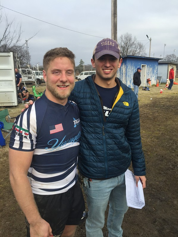 John Elmore and Dawson Pappas at the Memphis Blues Rugby Club season opener. - MICHAEL DONAHUE