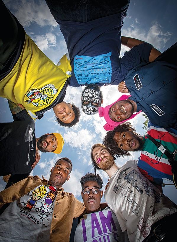 (Clockwise from top) IMAKEMADBEATS, A Weirdo from Memphis, PreauXX, Aaron James, Quinn McGowan, Jr., Kid Maestro, Eric Stafford, C Major