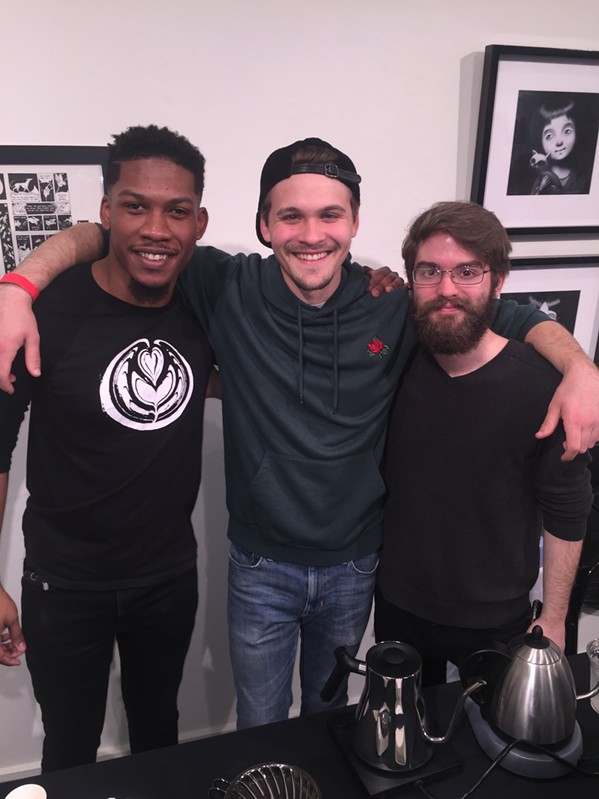 Reggie Taylor, Chandler Murphy and Ryan Henry from The Hub Coffeehouse at Grind City Coffee Expo. - MICHAEL DONAHUE