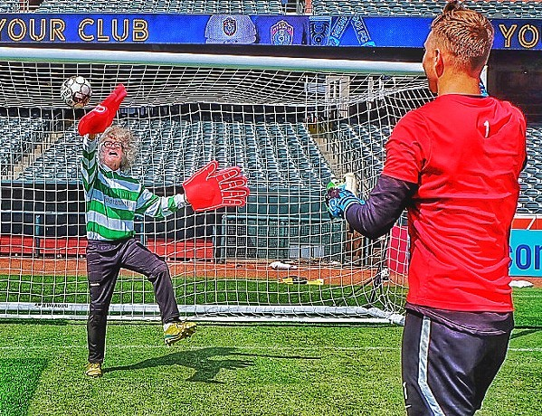 "George Herman Ruth Jr. was known as ""Babe Ruth."" Michael Joseph Donahue's new nickname is ""Butterfinger"" after I tried my hand - in oversized gloves - at being a goalie - with the help of Memphis 901 FC goalie Jeff Caldwell. - JON W. SPARKS"