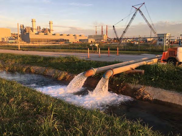 Groundwater discharge from an aquifer test at the Tennessee Valley Authority Allen Combined Cycle Plant in October. - USGS