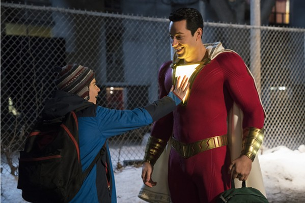 "JACK DYLAN GRAZER as Freddy Freeman and ZACHARY LEVI as Shazam in New Line Cinema's action adventure ""SHAZAM!,"" a Warner Bros. Pictures release."