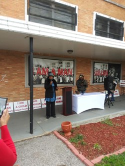 New Chicago Resident speaks against the Memphis 3.0 plan at a rally Saturday - FACEBOOK- CARNITA ATWATER