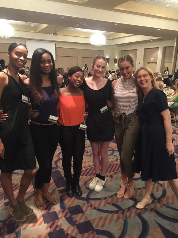 "New Ballet founding CEO/artistic director Katie Smythe with students at the ""Elevating Unity"" luncheon. - MICHAEL DONAHUE"