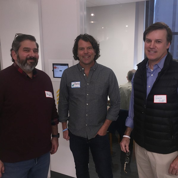 Bryan Barringer, Chris Schultz and Gwin Scott at the Launch Pad grand opening party. - MICHAEL DONAHUE