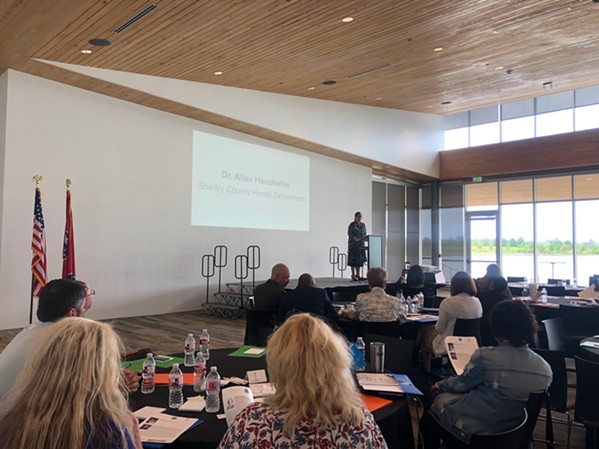 A Shelby County Health Department representative speaks at the  West Tennessee Opioid Summit