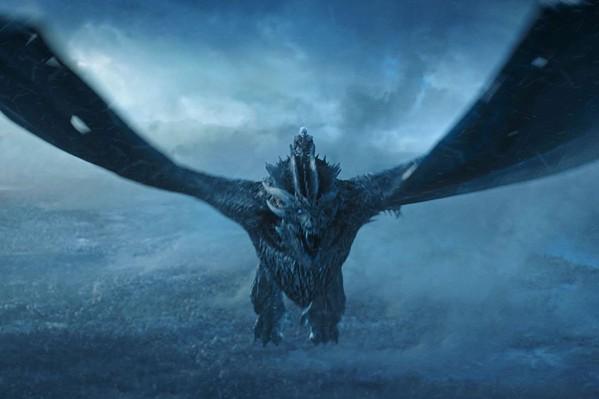 The Night King (Vladimír Furdík) rides Viserion into battle. - COURTESY HBO