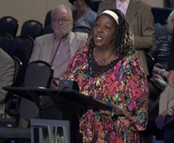 Cynthia Brown delivers public comments at one of the last TVA board meetings in which public comment was allowed to happen the same day as the board meeting. The public is no longer allowed to provide comment during the actual TVA board meetings. - SACE