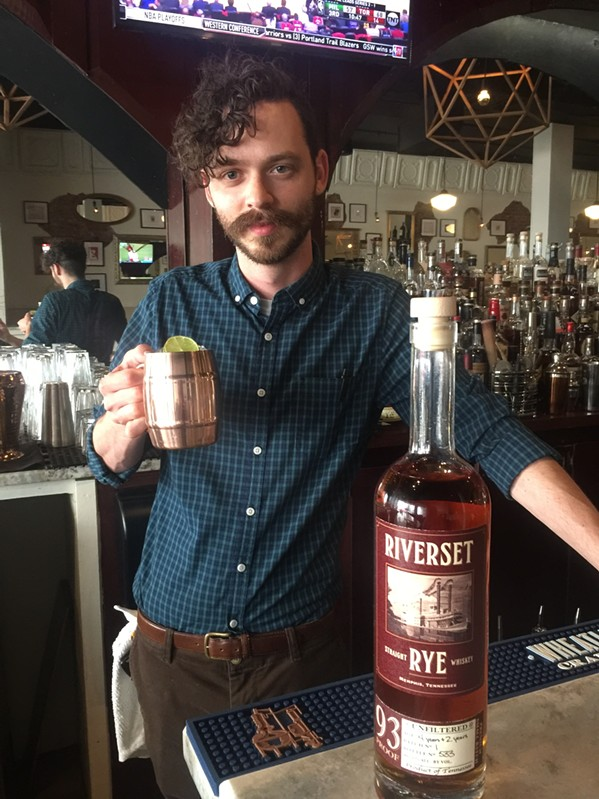 Nick Lumpkin, bartender at 117 Prime, and a Memphis Mule made with Memphis's-own Riverset Rye. - MICHAEL DONAHUE