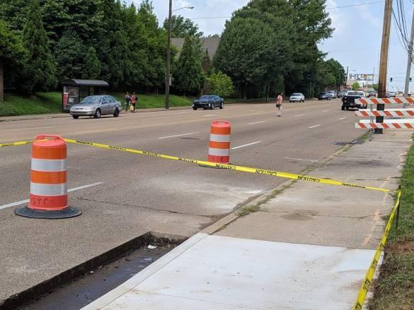 Construction begins on an enhanced crosswalk on Poplar near the Central Library - BIKE/PED MEMPHIS