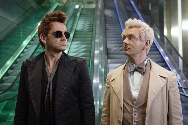 David Tennant as the demon Crowley and Michael Sheen as the angel Aziraphale in Good Omens.