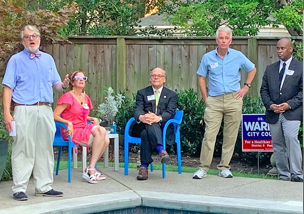 City Council Position 3 candidate Jeff Warren (far left) with supporters at a Thursday afternoon fund-raiser. From left: Kathy Fish, co-host of the affair; Congressman Steve Cohen; former County Commissioner Steve Mulroy, and County Commission Chairman Van Turner. - Cohen got off a shot at political consultant Brian Stephens, who, said Cohen, was interested in making money, not the welfare of the city, and had talked one of Warren's opponents into moving from the Position 1 race, where Stephens already had a client, in order to maximize his potential profit. - JB