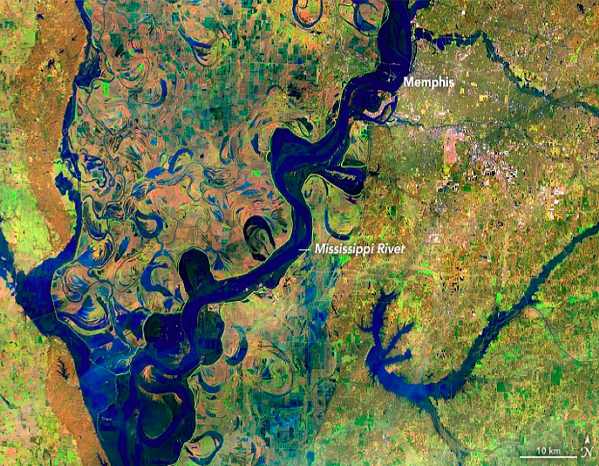 Satellite image shows the Mississippi River swelling below Memphis. - MISSISSIPPI RIVER CITIES & TOWNS INITIATIVE