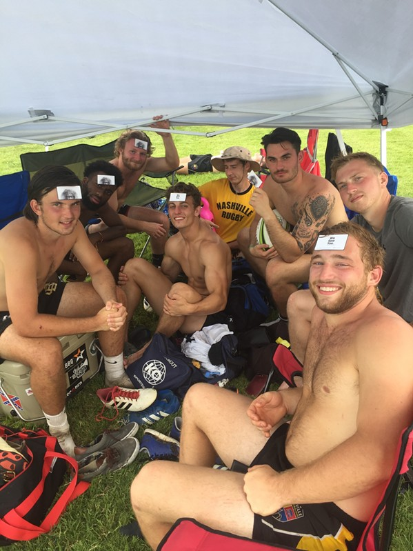 """I'm getting a lot of mileage out of my """"We Saw You"""" business cards. This is the Nashville Rugby team at the Elvis 7s rugby tournament in Millington. This is not a new addition to the team's uniform. - MICHAEL DONAHUE"""