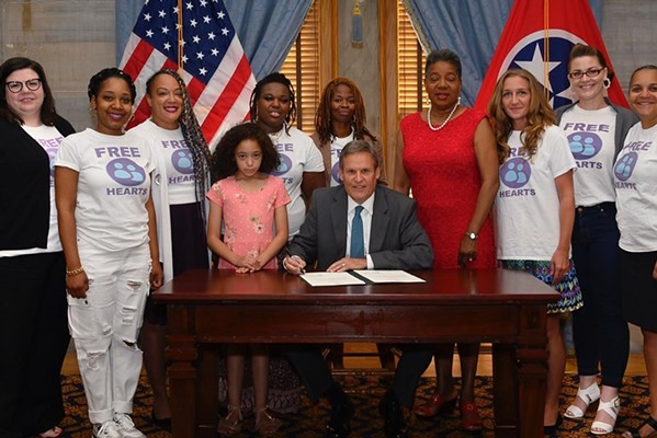 Free Hearts with Gov. Bill Lee as he signs the Primary Caretaker Bill - FACEBOOK/FREE HEARTS