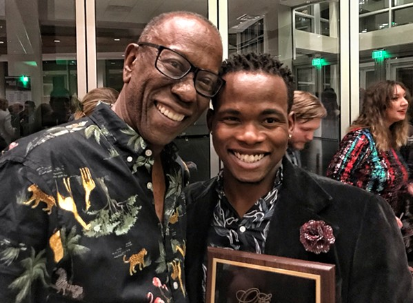 Veteran actor Curtis C. Jackson (left) with Karl Robinson, winner of this year's Larry Riley Rising Star Award. - JON W. SPARKS