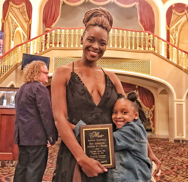 Ariona Campbell won Best Supporting Actress in a Drama in the collegiate division for Crumbs from the Table of Joy at Southwest Tennessee Community College. With her at the Orpheum ceremonies is her daughter London. - JON W. SPARKS