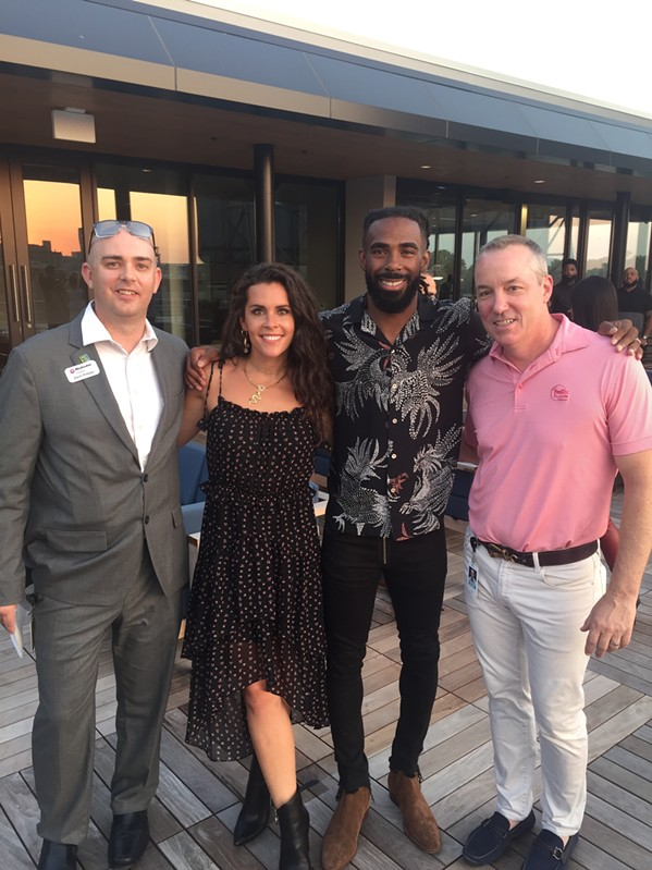 Zach Pretzer, Mary and Mike Conley, and Daniel Weickenand at the Bowl-N-Bash pre-bash reception. - MICHAEL DONAHUE