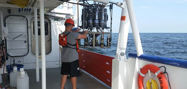 Scientists from Louisiana Universities Marine Consortium collect water samples from the Gulf of Mexico.
