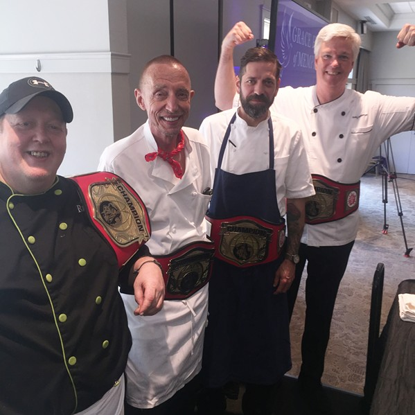 Michael Patrick, Erling Jensen, David Krog, and Randy Jefferson, who made the salads, participated in the Great Memphis Food Fight. - MICHAEL DONAHUE