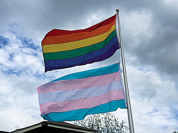 A transgender flag flies over OUTMemphis. - BIANCA PHILLIPS