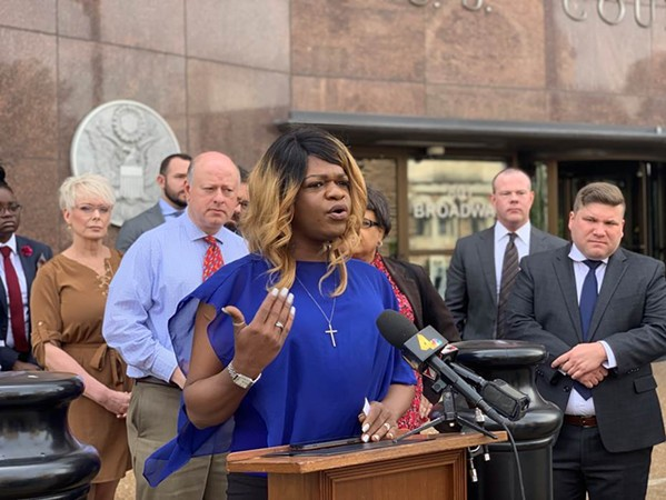 Kayla Gore, of Memphis, speaks during a news conference Tuesday outside the federal courthouse in Nashville. - LAMBDA LEGAL