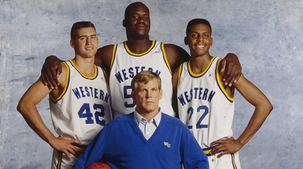 Penny Hardaway (right) stars with Shaquille O'Neil (center), Matt Nover (left), and Nick Nolte (bottom) in William Friedkin's Blue Chips.