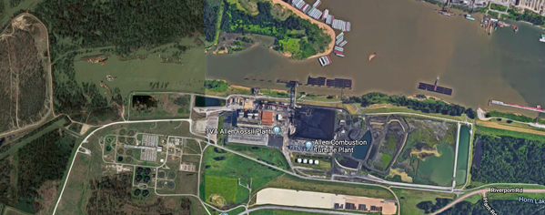 An aerial view of the Allen Fossil Plant. - GOOGLE MAPS