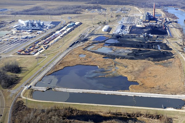 An aerial shot shows the massive east ash pond at the Allen Fossil Plant. - SOUTHERN ENVIRONMENTAL LAW CENTER