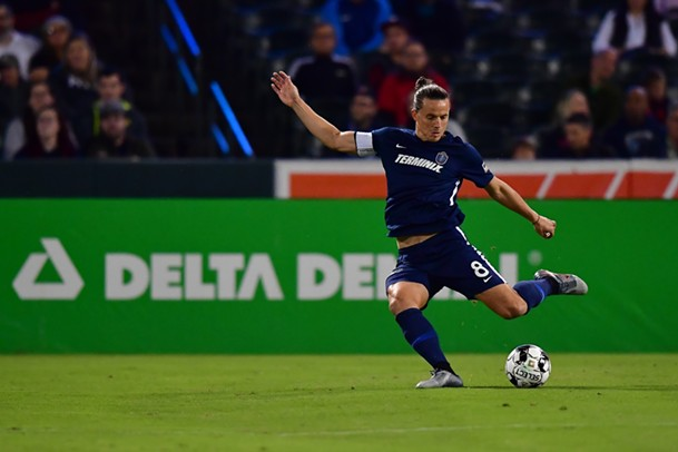Captain Marc Burch and the Memphis defense couldn't keep Charlotte off the scoresheet at AutoZone Park. - MEMPHIS 901 FC