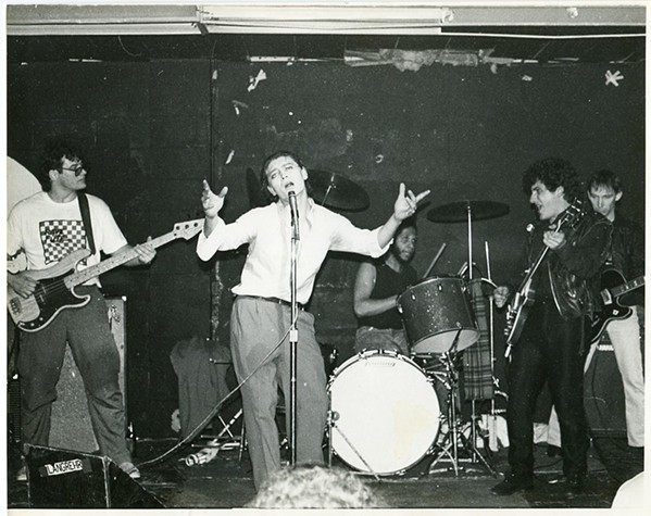 The Modifiers at the Antenna, early 80s: Bob Holmes, second from right.