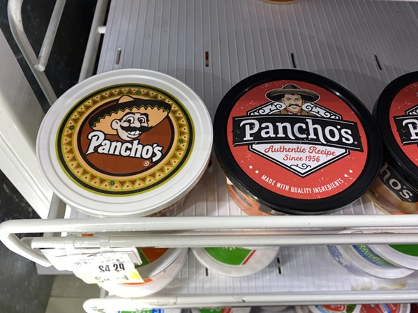 The new Pancho Man mingles with the old Pancho Man on the shelves at Midtown Kroger. - TOBY SELLS