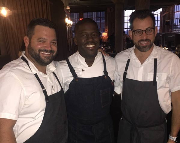 Chef Edouardo Jordan of Seattle was guest chef in the Enjoy Aim Guest Chef Series, which was held November 17th at The Gray Canary. With him are restaurant owners Michael Hudman and Andy Ticer. - MICHAEL DONAHUE