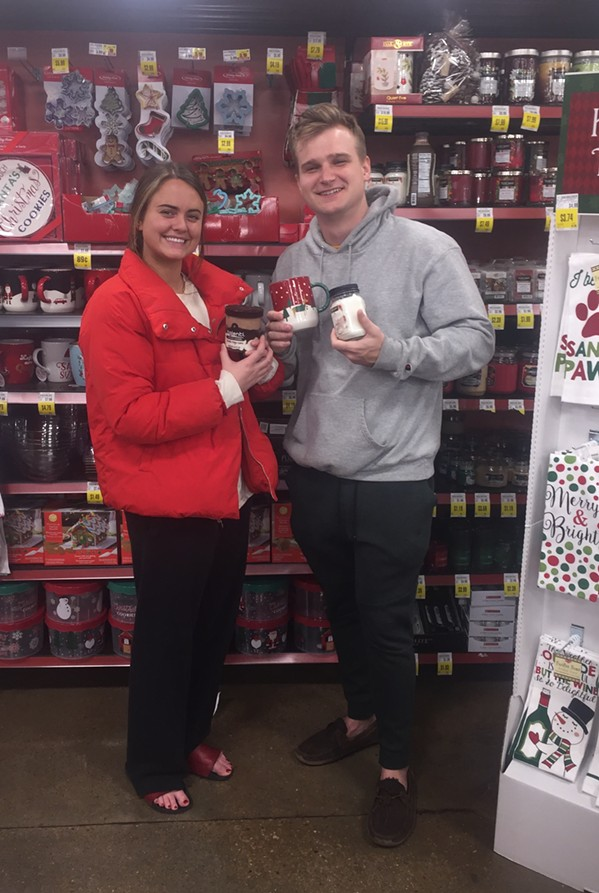 Andrea Norsworthy and Trace Austin at Kroger. - MICHAEL DONAHUE