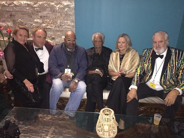 Attending the Moonshine Ball: Francine Luckett, Alston Meeks, Dr. Derek Miles, Morgan Freeman, Dr. Linda Keena, and Bill Luckett. - MICHAEL DONAHUE