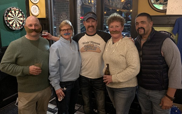Doc Chief Chris Wilson, division chief Hope Lloyd, Stephen Zachar, director Gina Sweat, division chief Colin Buress at Mustache Bash. - MICHAEL DONAHUE