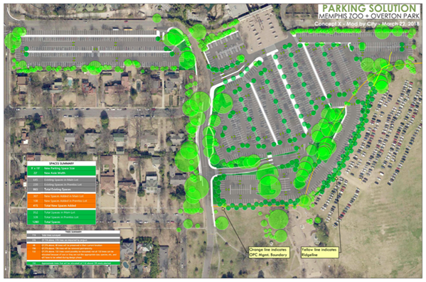 """The current plan for the Memphis Zoo's new parking lot, which will end parking """"forever"""" on Overton Park's Greensward. - CITY OF MEMPHIS"""